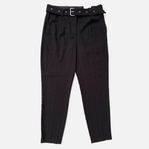 Express Black High Rise Belted Ankle Pants 8